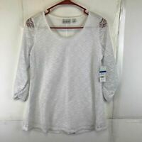 Kim Rogers Womens Casual Long Sleeves Scoop Neck Lulylace White Blouse XLarge