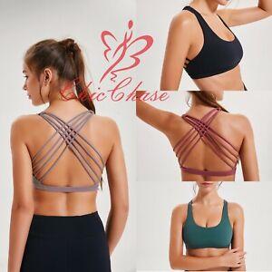 Womens Sports Bra Strap Open Cross Back Top Gym Yoga Activewear Fitness Training