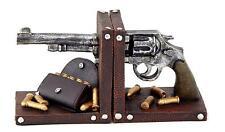 Western Bookends Gun Pistol Home Man Cave Decor Rustic Cowboy Gift Cabin New