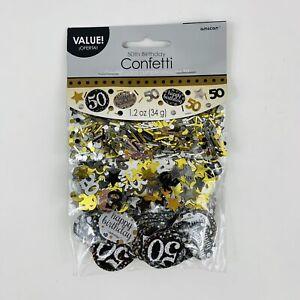 Happy 50th Birthday Gold, Black & Silver Party Confetti