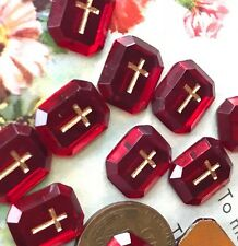 Vintage Cross Cabochons, Glass Religious Christian Western Germany Ruby Red #991