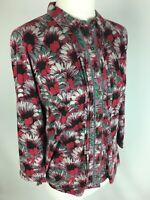 White Stuff Blouse Shirt UK 12 EU 40 Floral Pink Green Pintucks Stretch Pockets