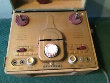VINTAGE 1950'S CRESCENT REEL TO REEL AUDIO TAPE RECORDER PLAYER GREEN TAN MUSIC