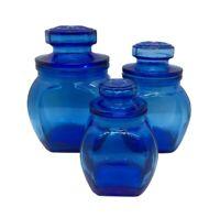 Vintage Cobalt Blue Glass Canister Set Of 3 Apothecary Jars