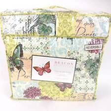 Beacon Boulevard Queen Quilt Set Botanical Floral Butterfly reversible script