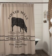 Cow Farmhouse Shower Curtain Tan Cotton Chambray Grain Sack Stripes Sawyer Mill
