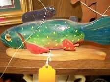 fish decoy on stand handmade