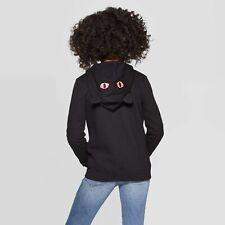 NEW CAT & JACK Black Cat ears/pink eyes Hoodie Hooded Jacket girl toddler XS 4/5