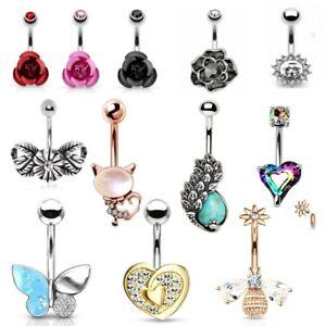 Belly Bar Non Dangle Crystal Gem CZ Jewel Body Piercing Navel Ring Enamel Opal