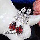 Boucles d'oreilles luxe d'OREILLE ZIRCON AAA cristaux STELLUX™ or blanc / rouge