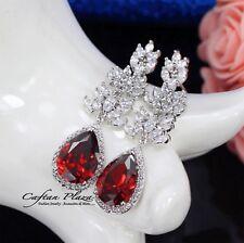 Pendientes Luxury DE CIRCONITA AAA CRISTALES STELLUX™ ORO BLANCO / Rojo