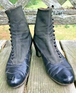Antique Button Up Victorian Edwardian Women's Leather & Fabric High Top Shoes