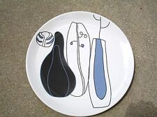 IKEA  SET OF 3  PORCELAIN DINER  PLATES 10''  MADE IN PORTUGAL WHITE/BLACK/BLUE
