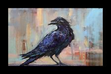 HAWKINS FRAMED Raven Crow Art Impressionism palette knife Impasto Art Painting