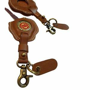 Royal Enfield Tan Leather Keychain Key Cover free shipping  US