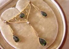FINE ANTIQUE EDWARDIAN GOLD NECKLACE with GREEN TOURMALINE DROPS & SEED PEARLS