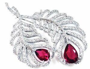 """""""USA""""BROOCH Crystal PIN Wedding Bridal Cubic Zirconia Red Corundum Leaf"""