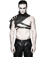 Punk Rave Mens Shoulder Armour Harness Black Faux Leather Gothic Dieselpunk