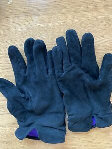 Ralph Lauren Purple Label Black Suede Cashmere Gloves