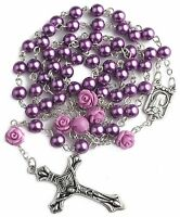 Catholic Purple Pearl Beads Rosary Necklace Our Rose Lourdes Medal Cross 19""