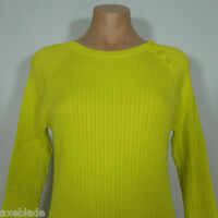 JEANNE PIERRE Women's Bright Yellow Cable Knit Crewneck Sweater size M