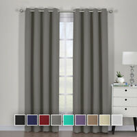 Ava Blackout Curtain Set Window Grommet 2 Panels With Tie Backs 9 Solid Colors