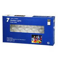 Christmas Lights - 7 Light C7 Bubble Lights - Clear Glitter Bubble Light Set