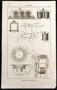 1852 - Grabado Física Telégrafos Électromagnétique. Ciencia