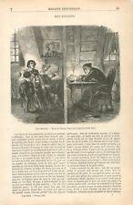 Mansardes à Paris Chambre de Bonne Famille d'Ouvriers & Avare Or GRAVURE 1855