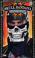 Skull Bandana Facemask Biker Face Mask Jaw to Nose Black Costume Bandanna NEW
