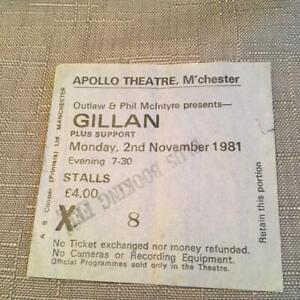 Gillan ticket Manchester Apollo 02/11/81 #X8