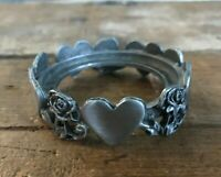 Vtg Hearts Roses Fine Pewter Scents & Accents Tealight Votive Candle Holder Ring