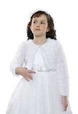 New Flower Girls First Holy Communion Faux Fur Bolero Jacket Shrug Age 7-13yrs