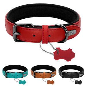 Dog Leather Collar Soft Neoprene Padded Adjustable for Small Large Dog Black S-L