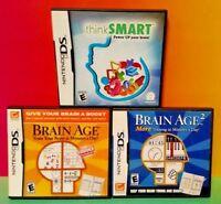 Brain Age 1 , 2 + Think Smart - Nintendo DS Lite 3DS 2DS 3 Games