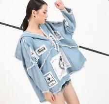 womens denim cape jacket short letters printed wahed denim jeans jacket coat