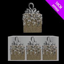 6 x Champagne Oro Pallido Con Perline pacco Christmas tree bauble decorazione da appendere