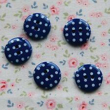 15 Oscuro Azul Marino Con Lunares Botones 15 mm
