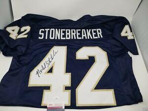 Michael Stonebreaker Signed Autographed Blue #42 Jersey Notre Dame Irish JSA