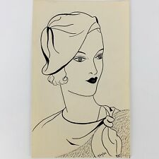 "Vintage 1932 Women's Fashion Sketch Drawing Art Signed RAF 8/29/32 5 1/2"" x 9"""
