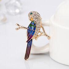 Brooch Lapel Pin Scarf Clip Elegant Women Rhinestone Parrot Shape Enamel