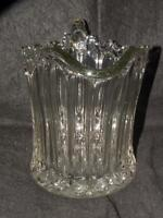 ANTIQUE EAPG EARLY AMERICAN PATTERN GLASS PITCHER RUFFLED RIM HEAVY NICE