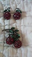 Vintage MADE IN AUSTRIA Dangling Rhinestone Cherry Brooch - Cherry Earring Set