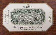 Une étiquette de champagne Krug Clos du Mesnil 1981