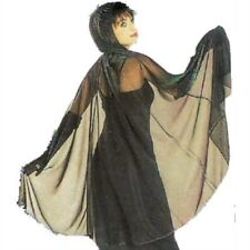 Ladies Metallic IRIDESCENT GREEN PURPLE HALLOWEEN CAPE w Hood Zebra Print Adult