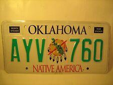 New NATIVE AMERICA License Plate 2008 OKLAHOMA #AYV 760 More in # order [Y59E5]