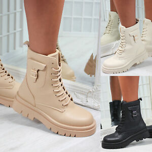 New Womens Pouch Side Zipped Biker Ankle Boot Shoes Sizes 3-8