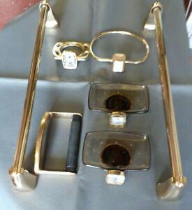 10 piece Retro Gold/Brass coloured bathroom/cloakroom set