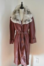 Vintage 1970s Red Leather Trench coat with silver Fox fur Collar