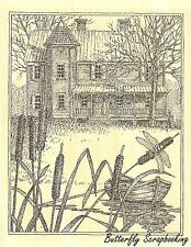 House With Cattails, Wood Mounted Rubber Stamp IMPRESSION OBSESSION - NEW, H1965